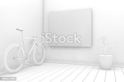 654050754istockphoto Empty Frame in Living Room 995024868