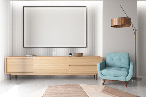 Empty Frame in Living Room with Armchair. 3d Render