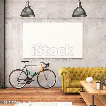 1153448605 istock photo Empty Frame in Living Room with Bicycle 1064312304