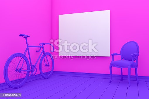 1095381860 istock photo Empty Frame in Living Room with chair and bicycle 1136445478
