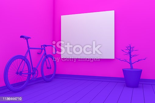 1095381860 istock photo Empty Frame in Living Room with chair and plant 1136444710
