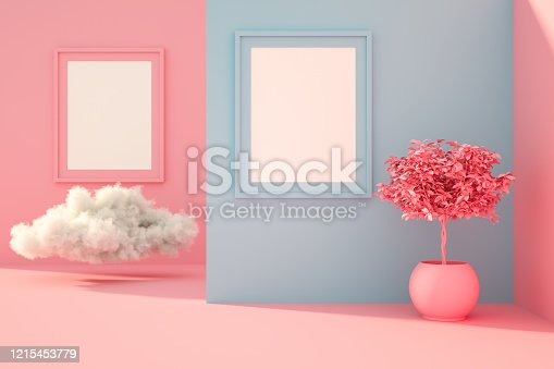 3d rendering of indoor living room with empty frame, sunlight and cloud.