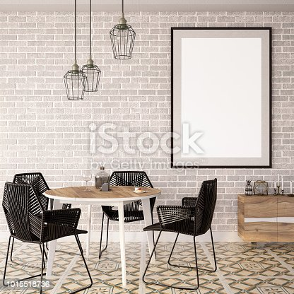 1153448605 istock photo Empty Frame in Living Room with Table 1015518736