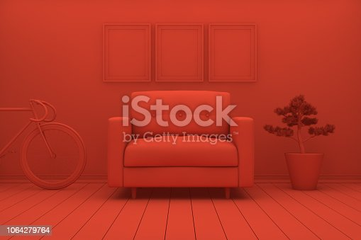 1095381860 istock photo Empty Frame in Red Living Room 1064279764