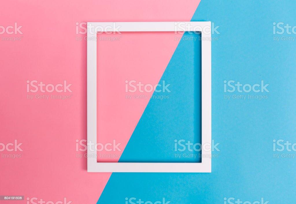 Empty frame on a bright split background stock photo