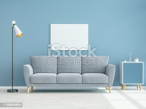 Empty Frame on Blue Wall with Sofa