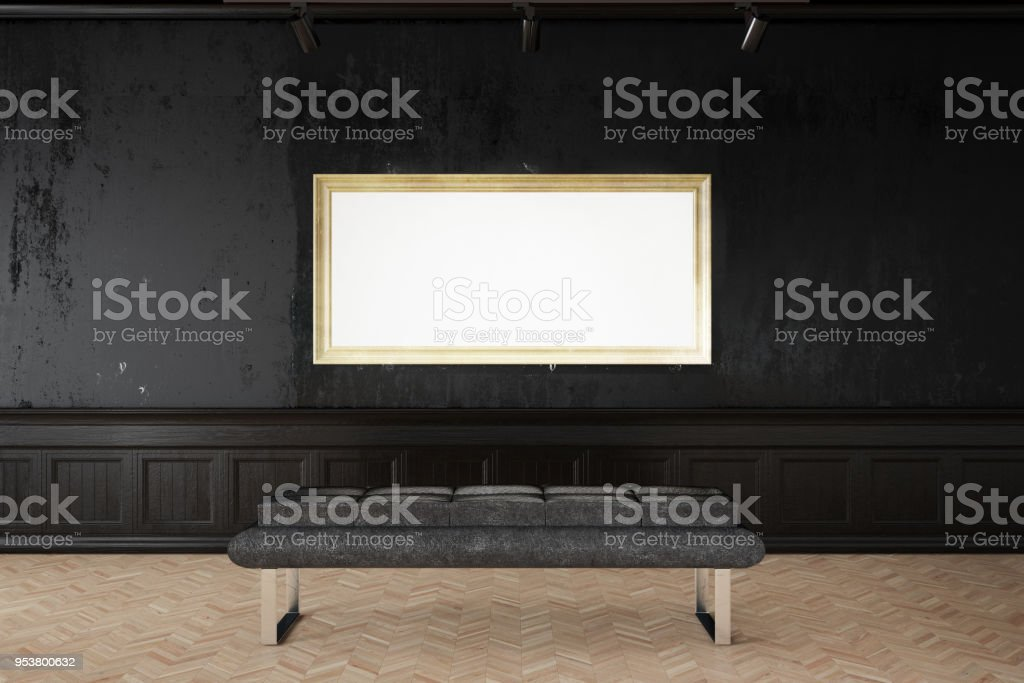 Empty Frame on Gallery Wall stock photo