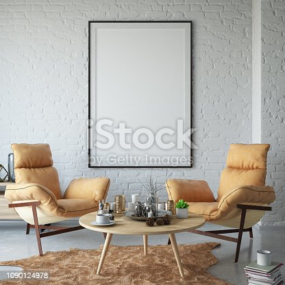 1153448605 istock photo Empty Frame on Living Room's Wall 1090124978