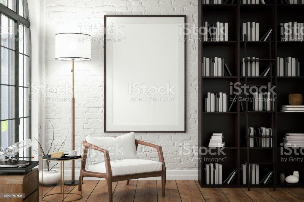 客廳牆上的空框與圖書館 - 免版稅住宅內部圖庫照片