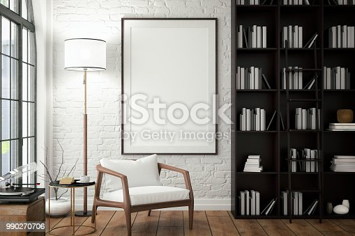 istock Empty Frame on Living Rooms Wall with Library 990270706