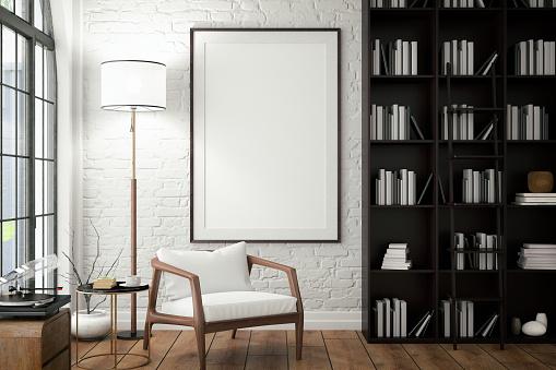 客廳牆上的空框與圖書館 照片檔及更多 住宅內部 照片