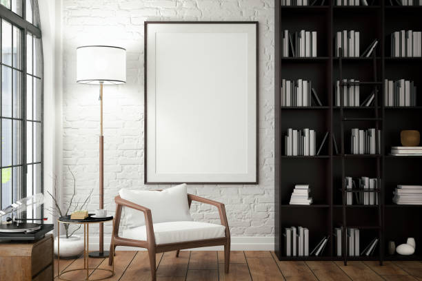 empty frame on living rooms wall with library - poster stock pictures, royalty-free photos & images