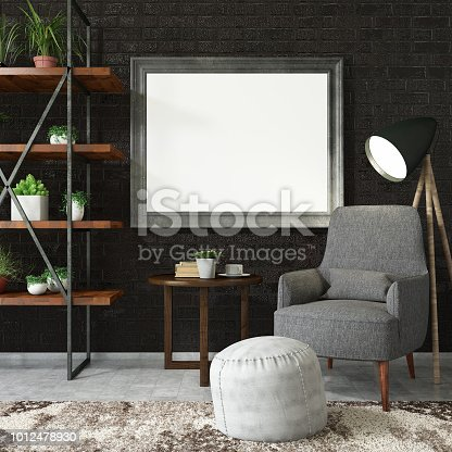 1153448605 istock photo Empty Frame on Living Rooms Wall with Shelf 1012478930