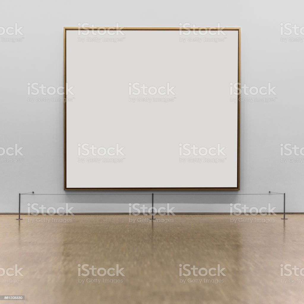 Empty frame on the wall of a museum stock photo