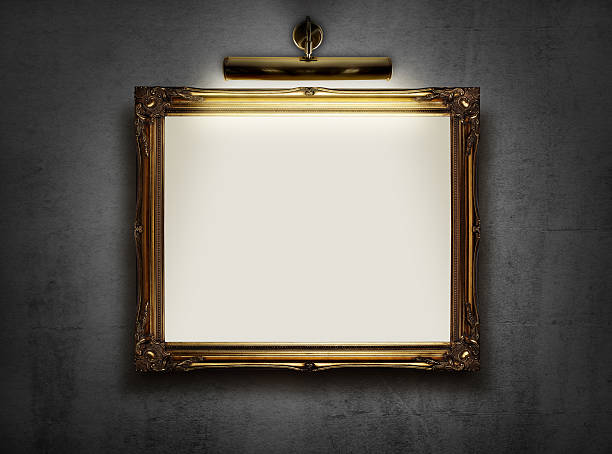 empty frame on the wall - museum stockfoto's en -beelden