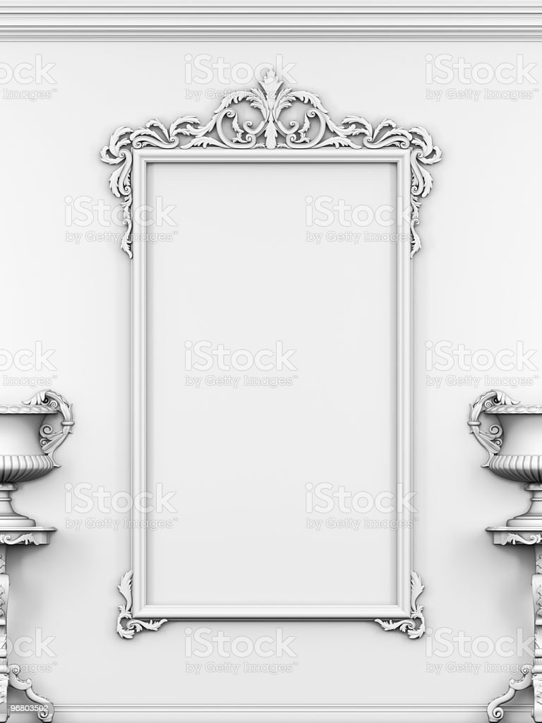 Empty frame on the wall. stock photo