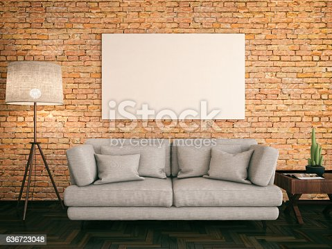 istock Empty Frame with Couch 636723048