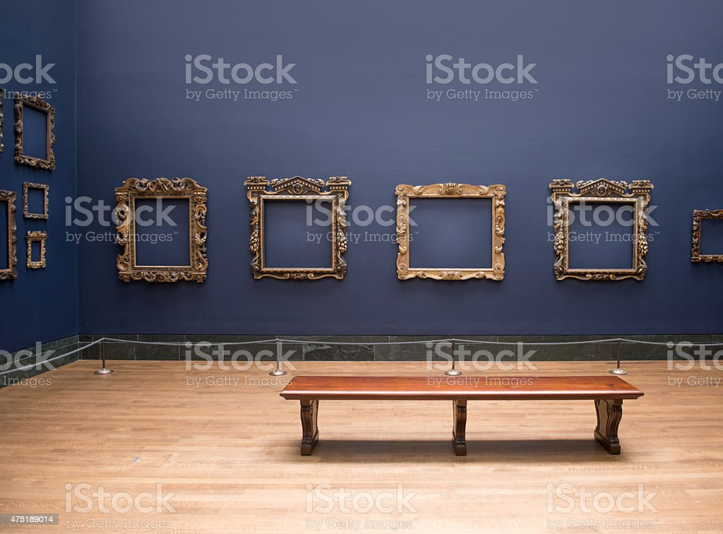 Empty frames in an Art Gallery stock photo