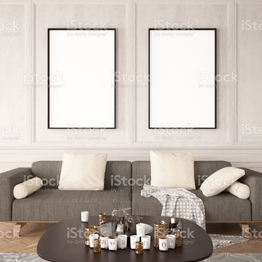 Empty Frames In Living Room Stock Photo & More Pictures of Apartment ...