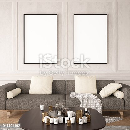istock Empty Frames in Living Room 941101192