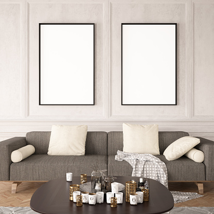 Empty Frames In Living Room Stock Photo Download Image Now Istock