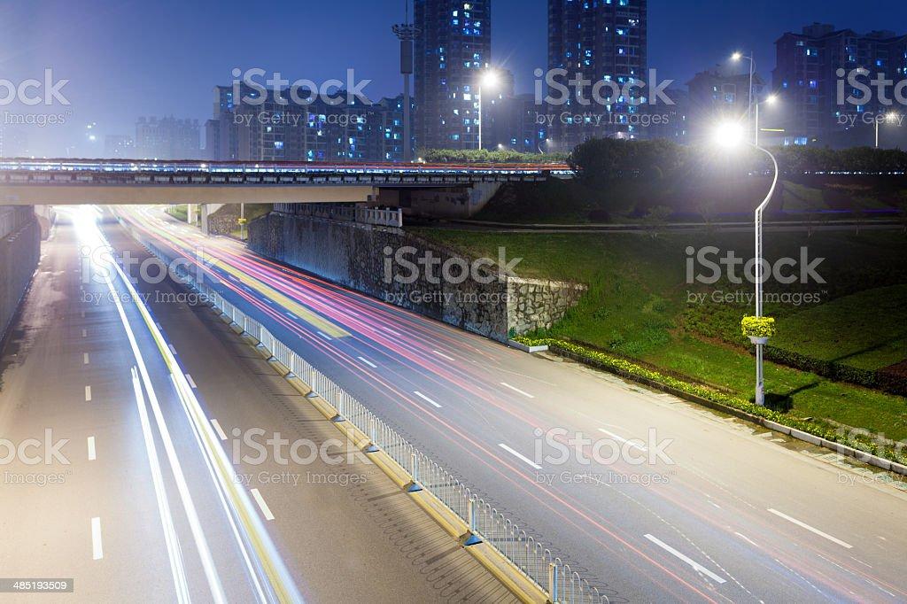 Empty freeway at night royalty-free stock photo