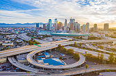 istock Empty freeway streets in Los Angeles 1220662791
