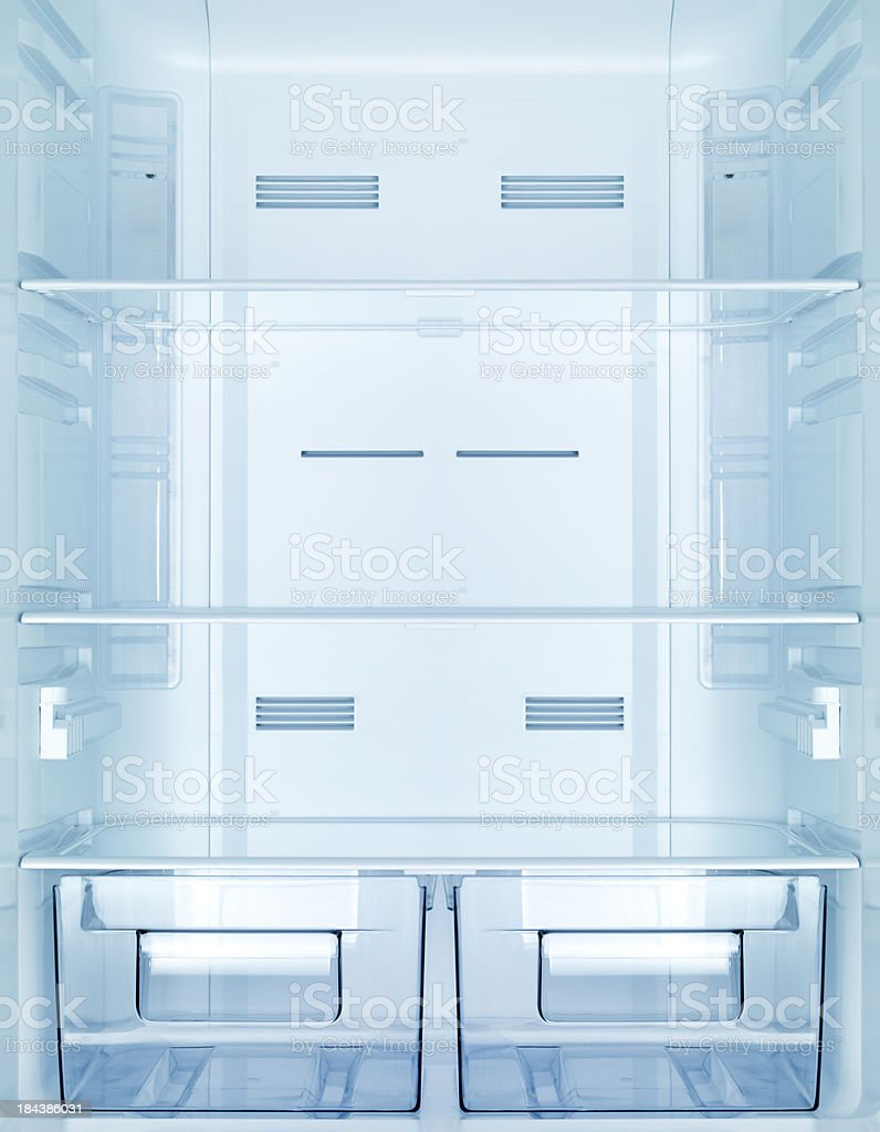 Empty fridge stock photo