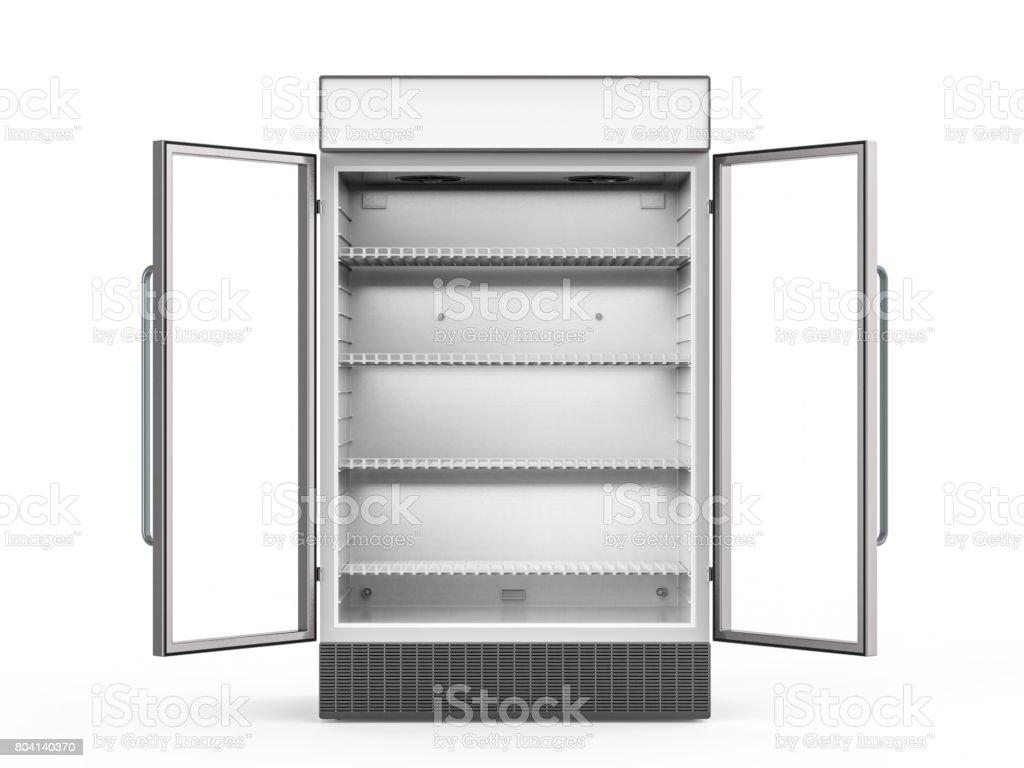 Kühlschrank Glastür : Leerer kühlschrank mit glastüren öffnen stock fotografie und mehr