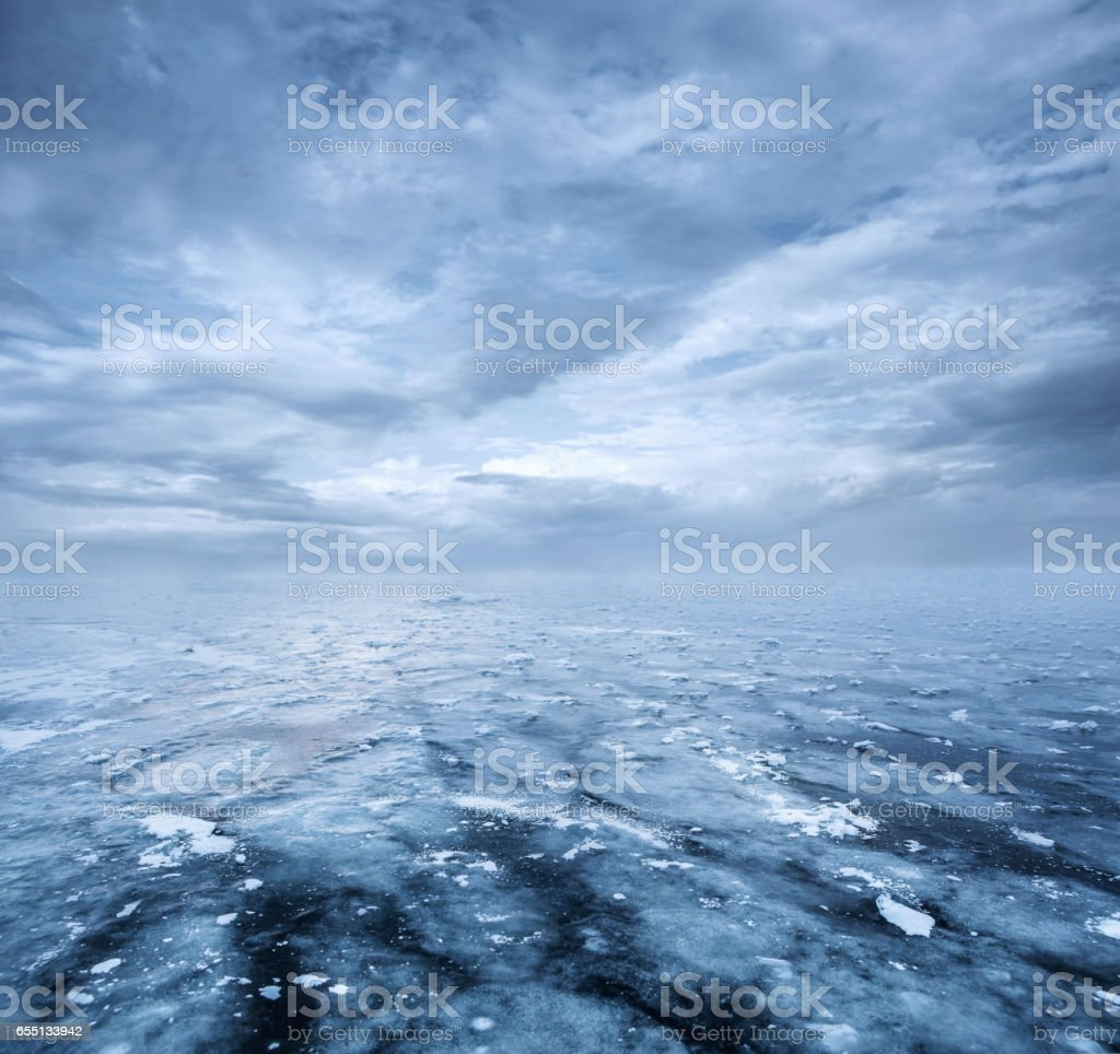 Empty frozen lake stock photo