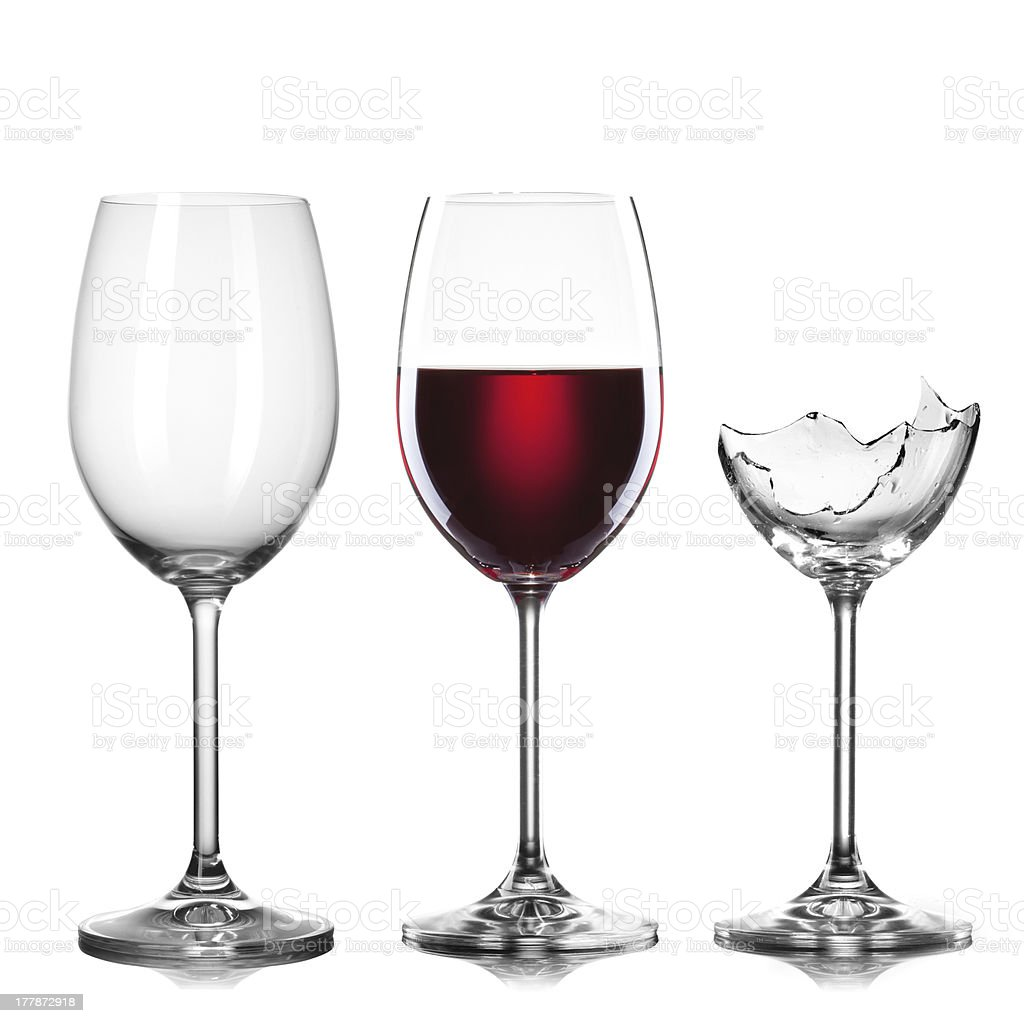 empty, full of wine and broken wineglasses isolated on white stock photo