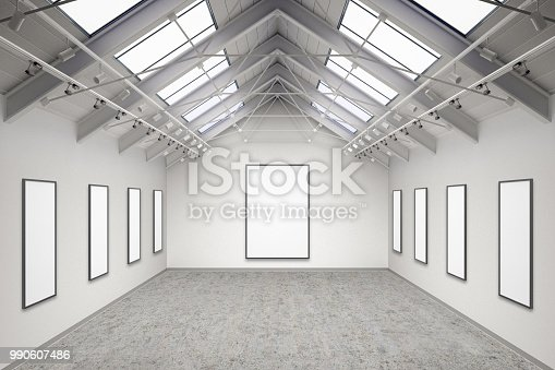 644237470istockphoto Empty gallery interior 990607486