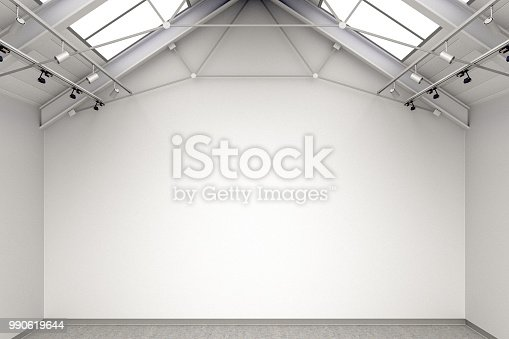 644237470istockphoto Empty gallery interior 990619644
