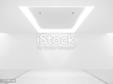 istock Empty gallery with white background 177283190