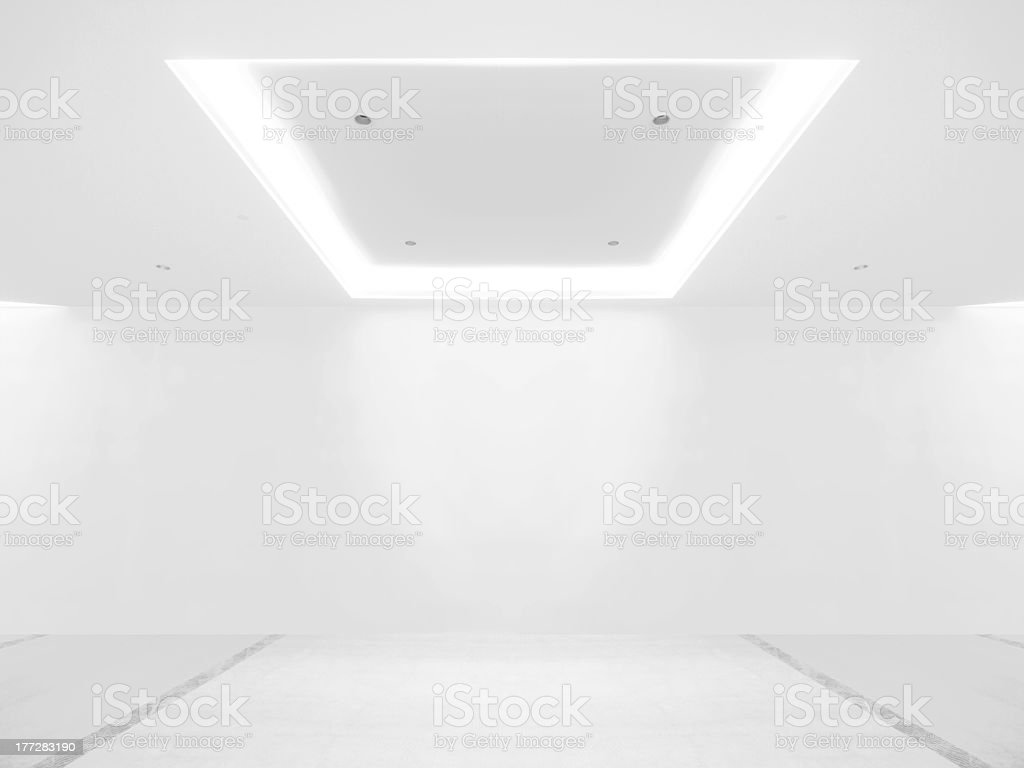 Empty gallery with white background stock photo