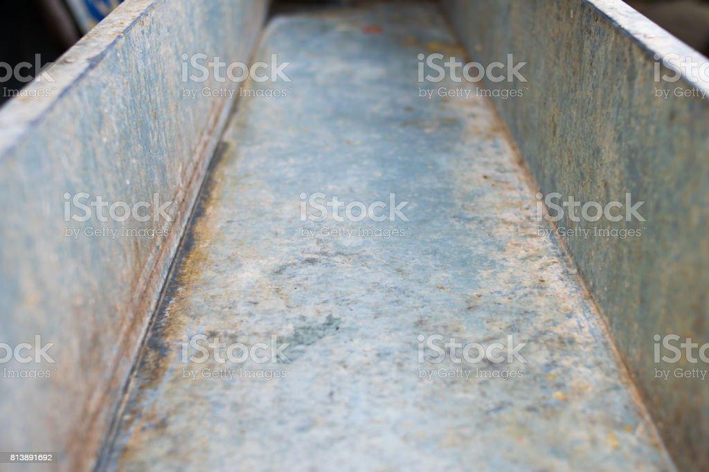 empty Galvanized trough stock photo