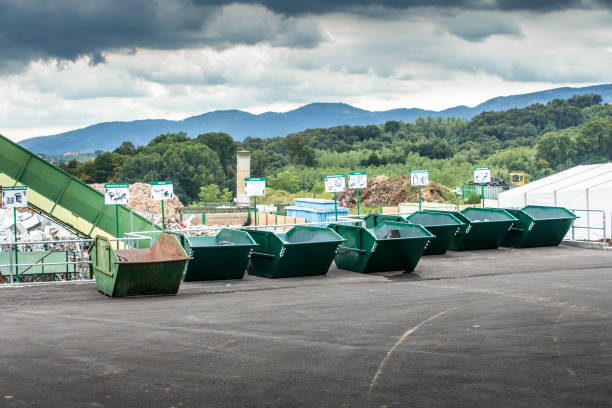 Empty Garbage Containers at Waste Collection Center stock photo