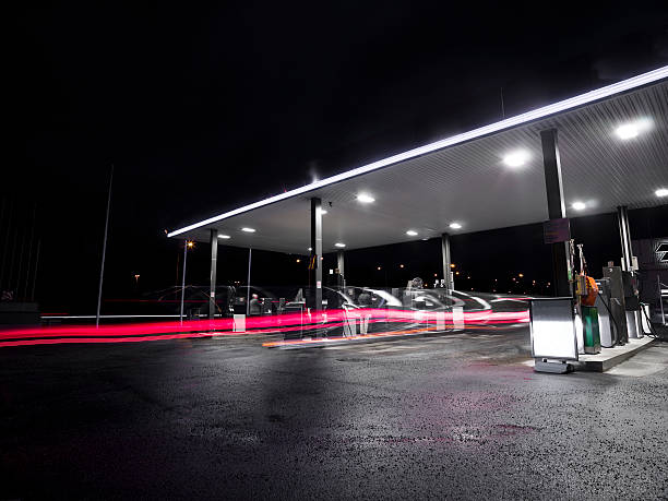 Empty gas station in the middle of the night stock photo