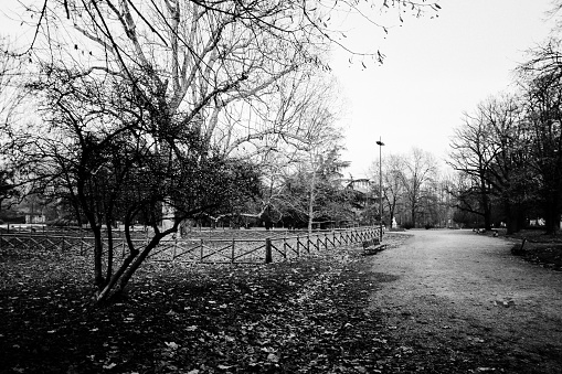 Empty Giardini Pubblici Indro Montanelli in Milan, Italy