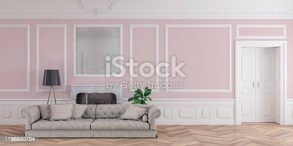 Empty glamour living room with light gray sofa and decoration on hardwood floor in front of empty pale pink antique wall with copy space, a fireplace on the left and a door on the right. Slight vintage effect added. 3D rendered image.