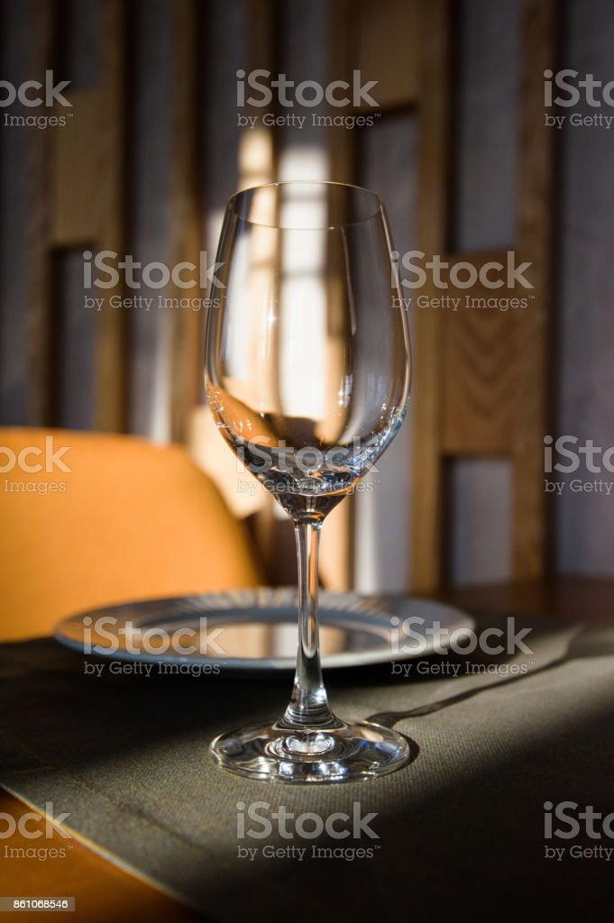 Empty Glass Arranged On A Table In The Restaurant Cafe Or Bar Preparation For The Birthday Wedding Or Any Celebration Day Stock Photo Download Image Now Istock