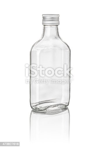 istock Empty glass bottle with a screw top cap 473827616
