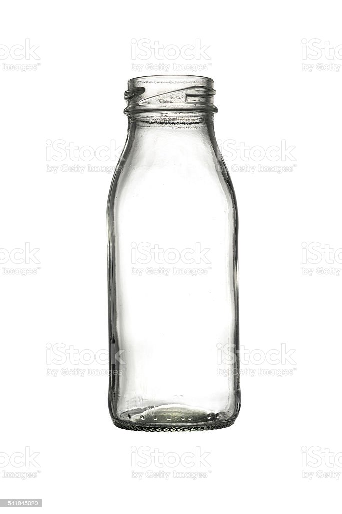 Empty glass bottles isolated stock photo