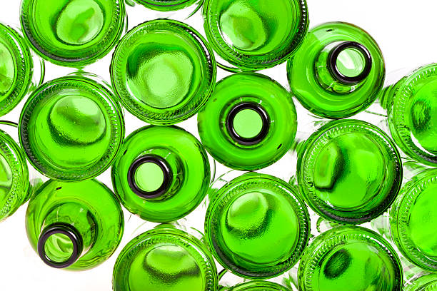 empty glass bottles on white background