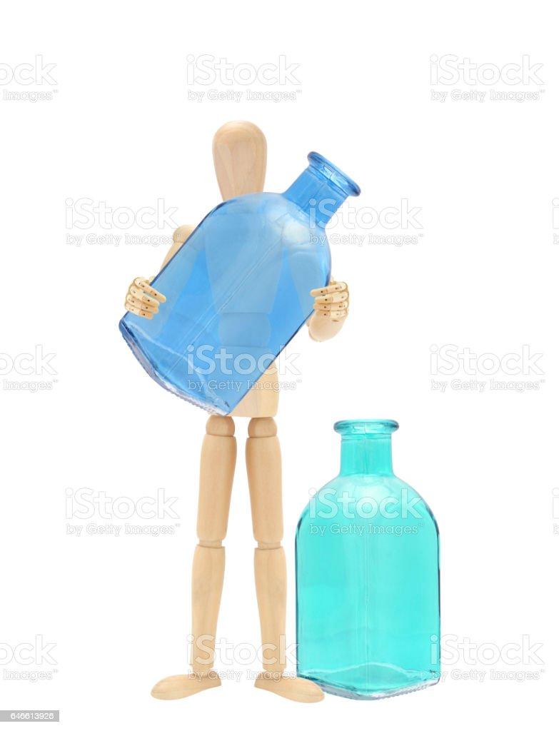 Empty Glass Bottles Wood Mannequin stock photo