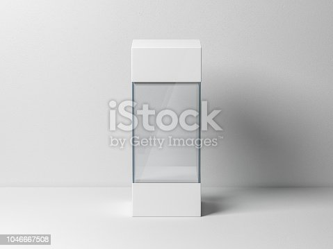 istock Empty glass box package mockup for exhibit 1046667508