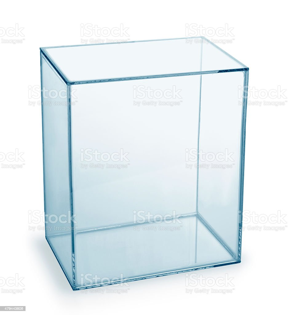 Empty glass box stock photo