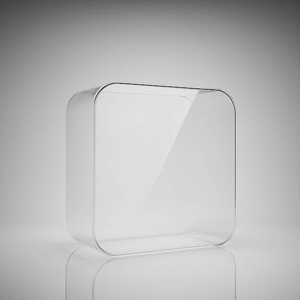 Empty glass box stock photo