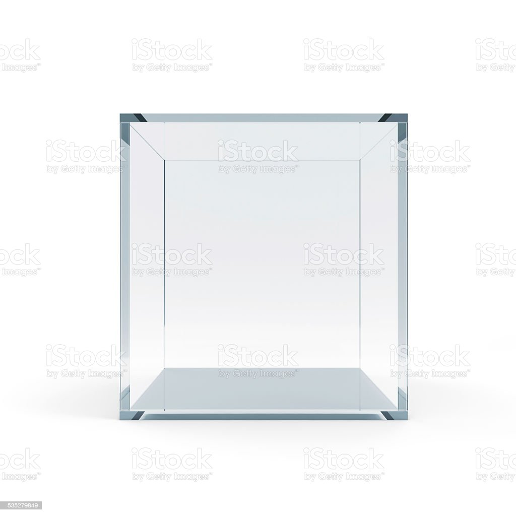 Empty Glass Cube isolated on white background stock photo