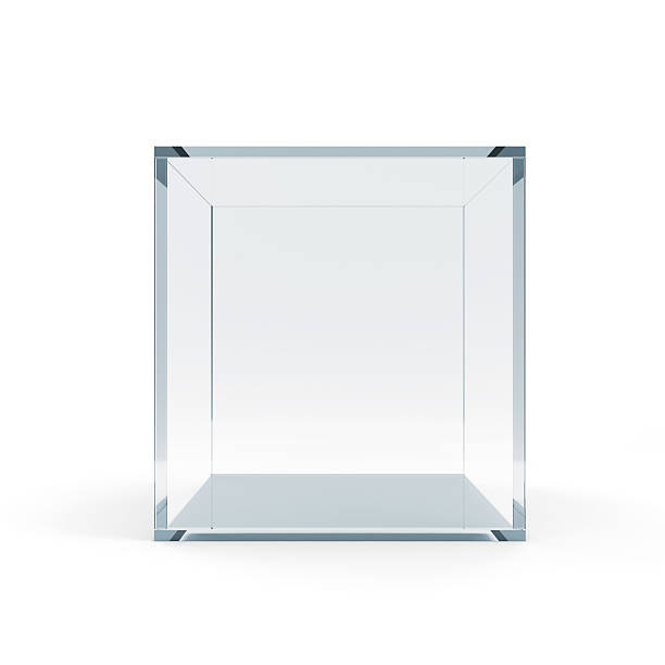empty glass cube isolated on white background - cube shape stock pictures, royalty-free photos & images